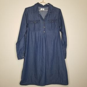 Old navy chambray mini dress, long sleeve